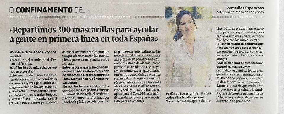 De las mascarillas solidarias a la colección ¨Mascarillas Deluxe¨.